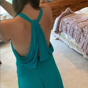 BCBG MaxAzria Teal Open Back High Low Dress